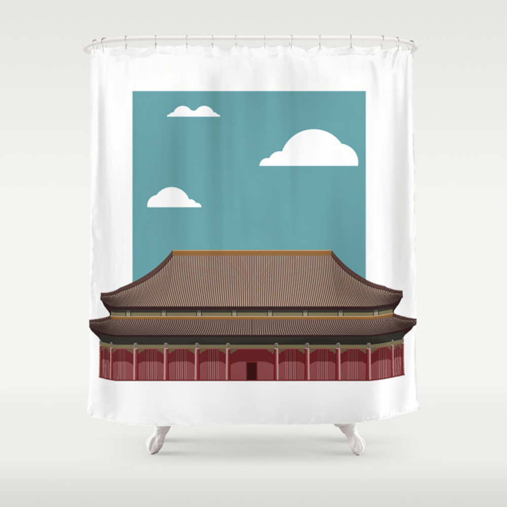 Chinese Building Illustration Shower Curtain by Azza1070 CTN9031749