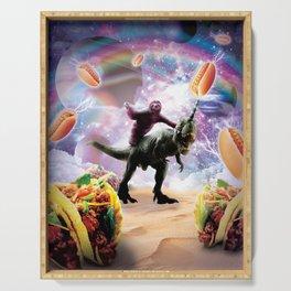 Space Sloth Riding Dinosaur Unicorn - Hotdog & Taco Serving Tray