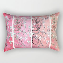 Van Gogh Almond Blossoms Deep Pink to Peach Collage Rectangular Pillow