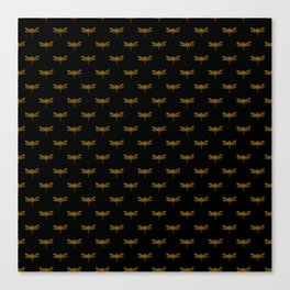 Golden Dragonfly Repeat Gold Metallic Foil on Black Canvas Print