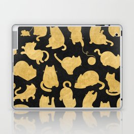Gold on Black Kitty Pattern Laptop & iPad Skin