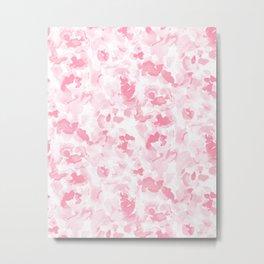 Abstract Flora Millennial Pink Metal Print