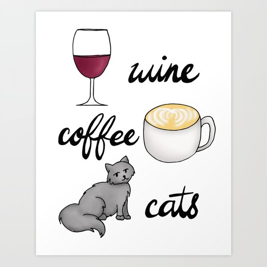 wine coffee cats funy shirt art print design