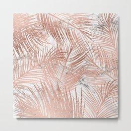 Tropical modern faux rose gold palm tree leaf white marble pattern Metal Print