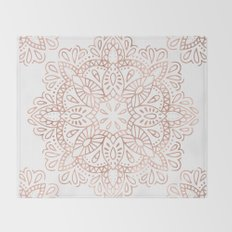 Mandala Rose Gold Pink Shimmer by Nature Magick Throw Blanket