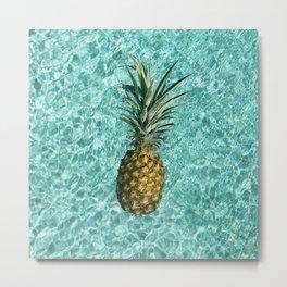 Pineapple Swimming Metal Print
