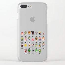 Video Games Pixel Alphabet Clear iPhone Case