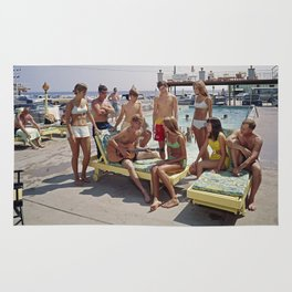 1960's teenagers playing guitar and singing by the Gondolier Motel pool, Wildwood, NJ Rug