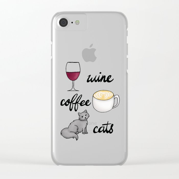 wine coffee cats clear iphone 7 case cases
