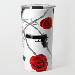 Roses Barbed Wire Guns Pattern Love Is War Travel Mug