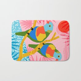 Besties - retro throwback memphis bird art pattern bright neon pop art abstract 1980s 80s style mini Bath Mat