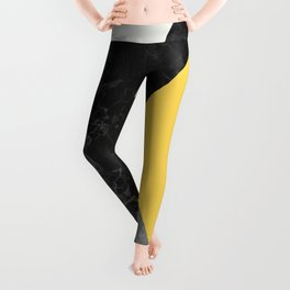 Black and White Marbles and Pantone Primrose Yellow Color Leggings