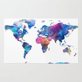 world map watercolor 2 Rug