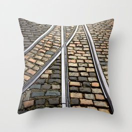 Rails and Cobbles Throw Pillow
