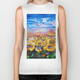 Sunflower Field Biker Tank