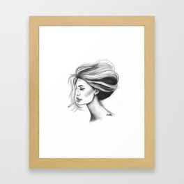 Untitled 3 Bridget Bardot Portrait Charcoal Printable Vintage Circle Smoking Cigarettes French Framed Art Print
