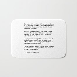 F Scott Fitzgerald quote Bath Mat
