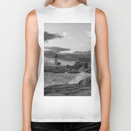 Annisquam Lighthouse Black and white Biker Tank