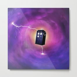 tardis in a black hole Metal Print
