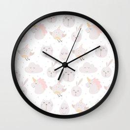 Pastel pink gray cute magical funny unicorn animals Wall Clock