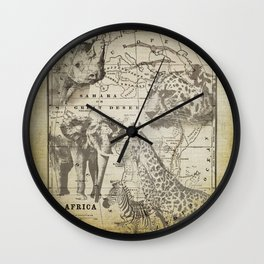 Out of Africa vintage wildlife art Wall Clock