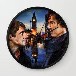Sherlock and John in London Wall Clock