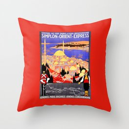 Vintage Simplon Orient Express London Constantinople Throw Pillow