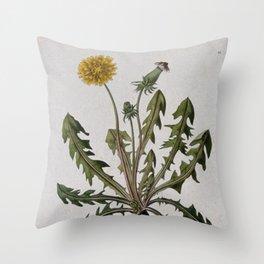 Botanical Dandelion Throw Pillow