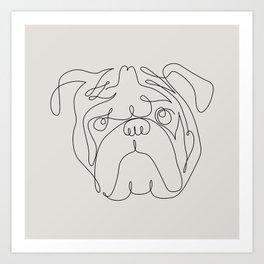 One Line English Bulldog Art Print