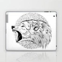 GREY SCREAMING WOLF Laptop & iPad Skin