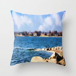New England Shoreline - Painterly Throw Pillow