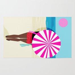 Fer Sure - throwback beach retro socal surfing sport 1980s neon classic 80s style memphis pop art Rug