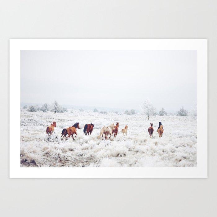 Winter Horses Art Print