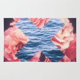 flowers - roses - ocean - waves Rug