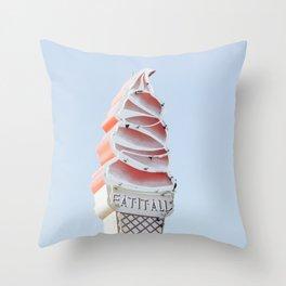 Ice cream eat neon Throw Pillow