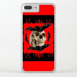 HALLOWEEN BAT INFESTED HAUNTED SKULL RED ART DESIGN Clear iPhone Case