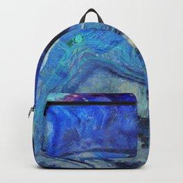 Blue agate texture digital art Backpack