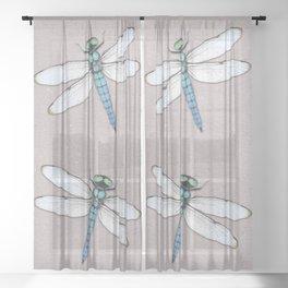 Blue dragonfly Sheer Curtain
