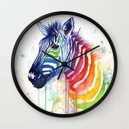 Zebra Watercolor Rainbow Animal Painting Ode to Fruit Stripes Wall Clock