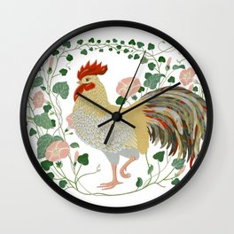 Rooster and morning glory Wall Clock