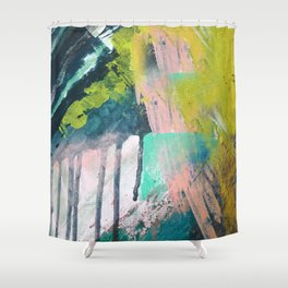 Melt: a vibrant abstract mixed media piece in blues, greens, pink, and white Shower Curtain