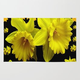 YELLOW DAFFODILS BLACK PATTERNED ART Rug