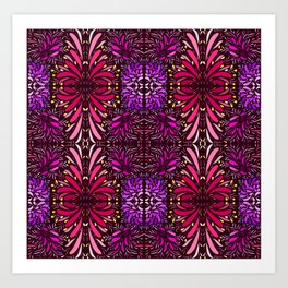 aboriginal style - flowers and leaves 1 pattern Art Print