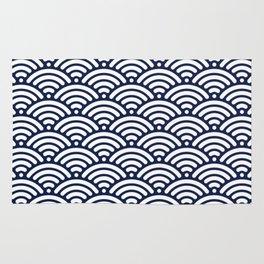 Indigo Navy Blue Wave Rug