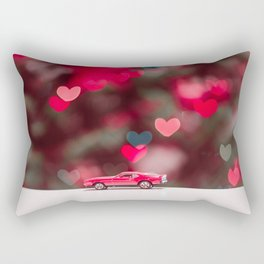 red car on the table at the love background Rectangular Pillow