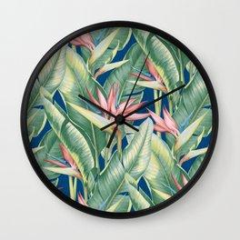 Flowers Birds of Paradise Wall Clock