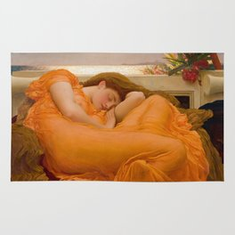 Flaming June Oil Painting by Frederic Lord Leighton Rug