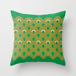 retro sixties inspired fan pattern in green and orange Throw Pillow