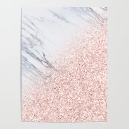 She Sparkles Rose Gold Pink Marble Luxe Geometric Poster