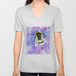 Bumblebee and Lavenders Unisex V-Neck